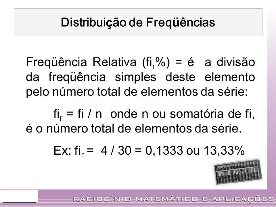 Distribui ç ão de Freq ü ências Freqüência Relativa (fi r %) = é a divisão da freqüência simples deste elemento pelo número total de elementos da séri