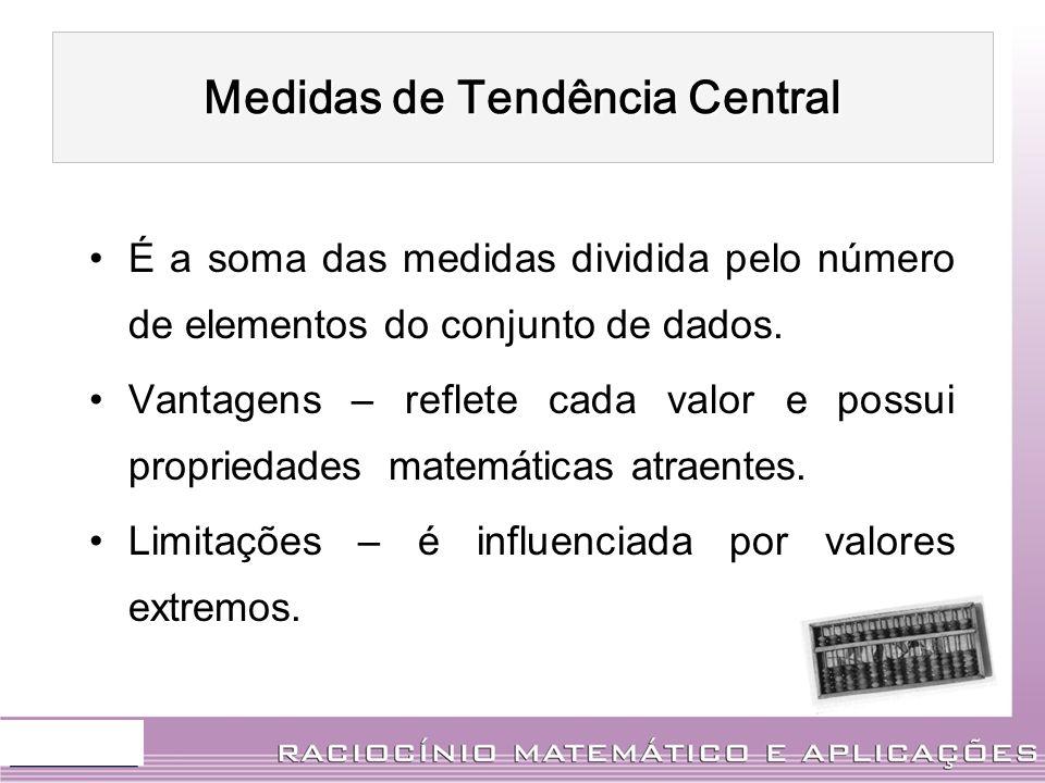É a soma das medidas dividida pelo número de elementos do conjunto de dados. Vantagens – reflete cada valor e possui propriedades matemáticas atraente