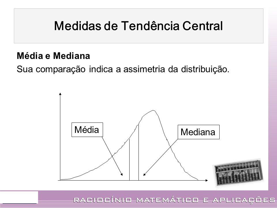 Média e Mediana Sua comparação indica a assimetria da distribuição. Mediana Média Medidas de Tendência Central