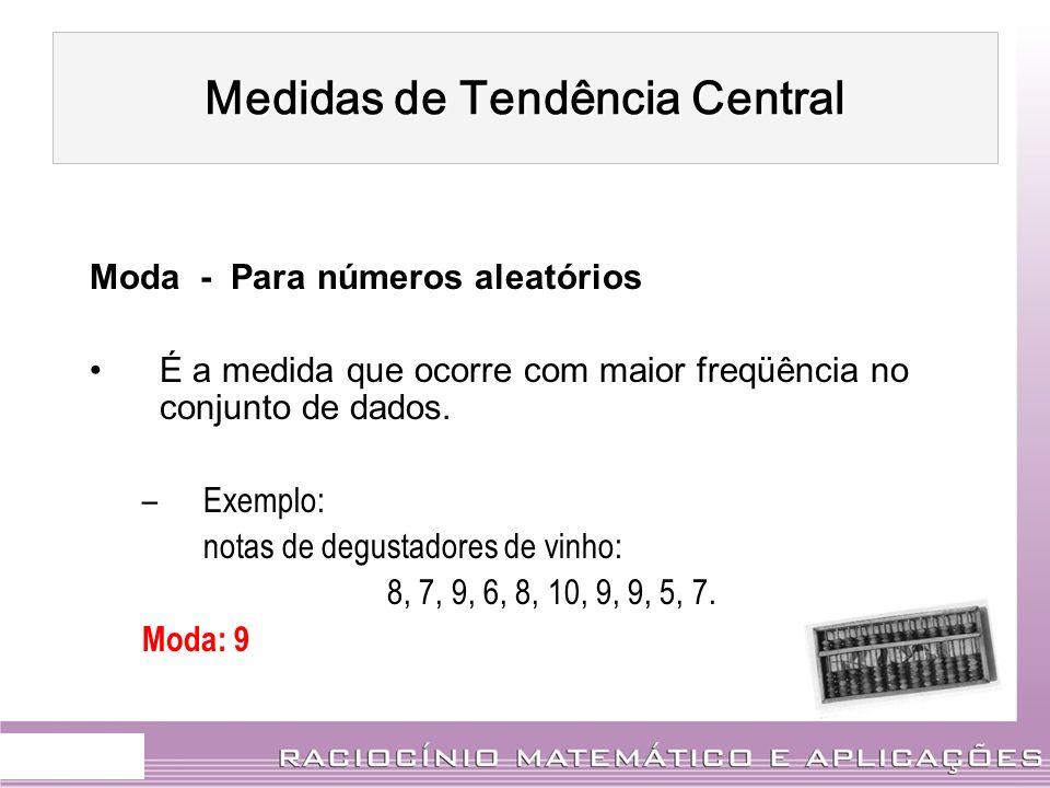Moda - Para números aleatórios É a medida que ocorre com maior freqüência no conjunto de dados. –Exemplo: notas de degustadores de vinho: 8, 7, 9, 6,