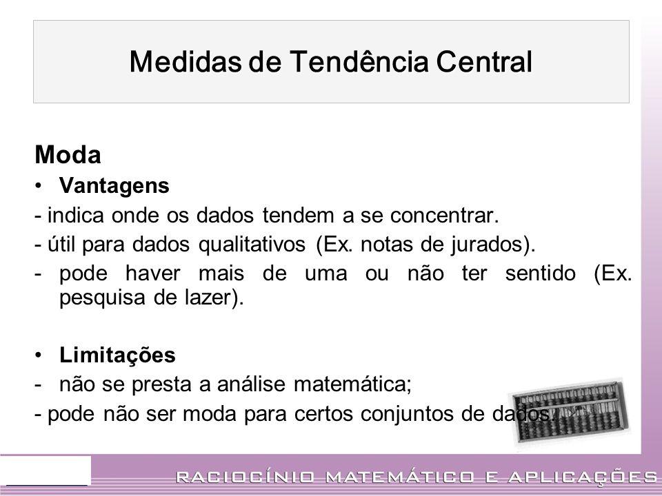 Moda Vantagens - indica onde os dados tendem a se concentrar. - útil para dados qualitativos (Ex. notas de jurados). -pode haver mais de uma ou não te
