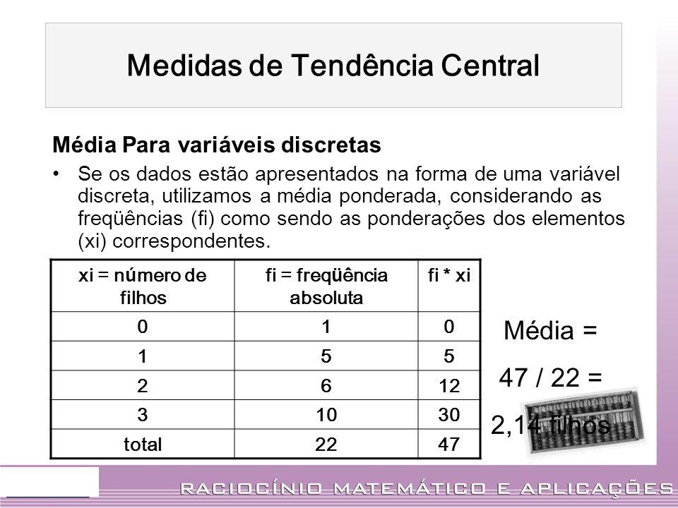 Média Para variáveis discretas Se os dados estão apresentados na forma de uma variável discreta, utilizamos a média ponderada, considerando as freqüên