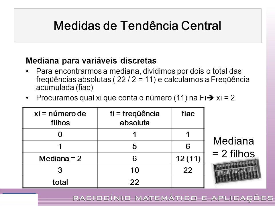 Mediana para variáveis discretas Para encontrarmos a mediana, dividimos por dois o total das freqüências absolutas ( 22 / 2 = 11) e calculamos a Freqü