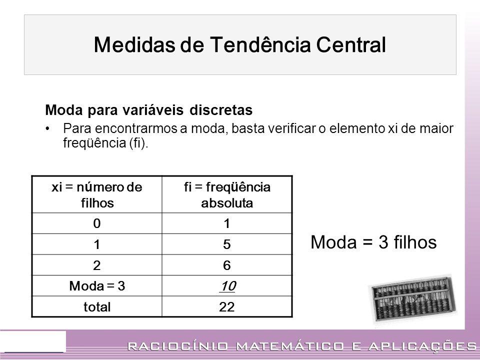 Moda para variáveis discretas Para encontrarmos a moda, basta verificar o elemento xi de maior freqüência (fi). xi = n ú mero de filhos fi = freq ü ên