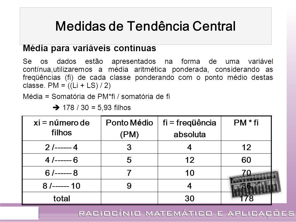 Média para variáveis contínuas Se os dados estão apresentados na forma de uma variável contínua,utilizaremos a média aritmética ponderada, considerand