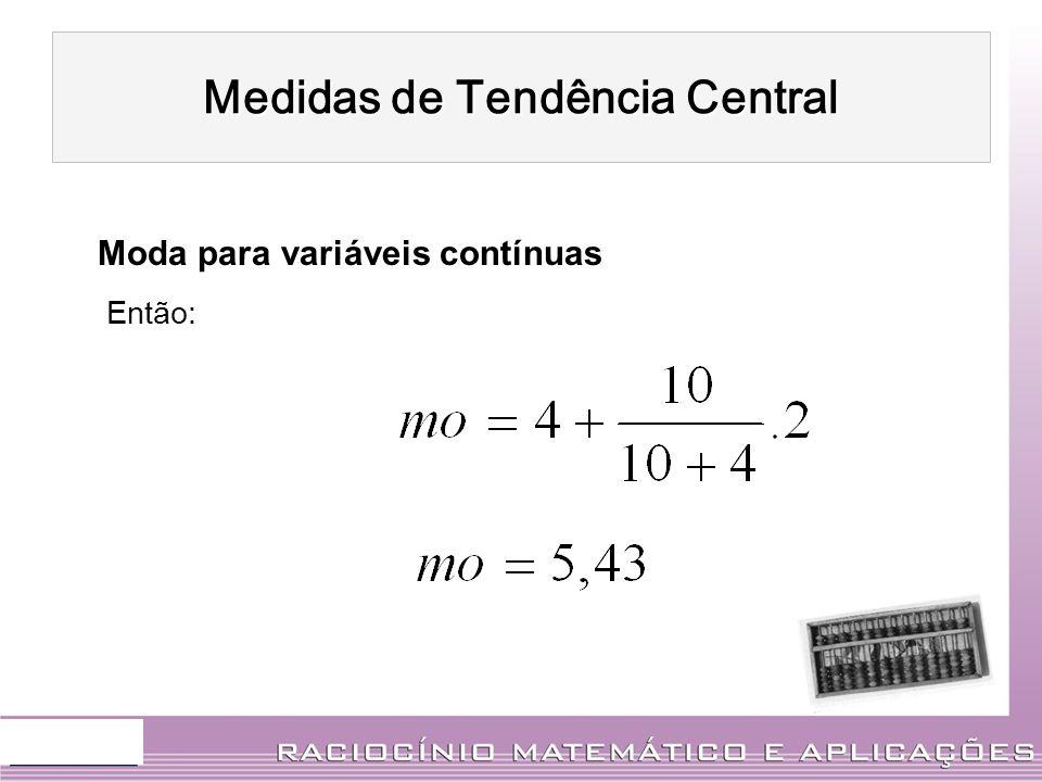 Moda para variáveis contínuas Então: Medidas de Tendência Central