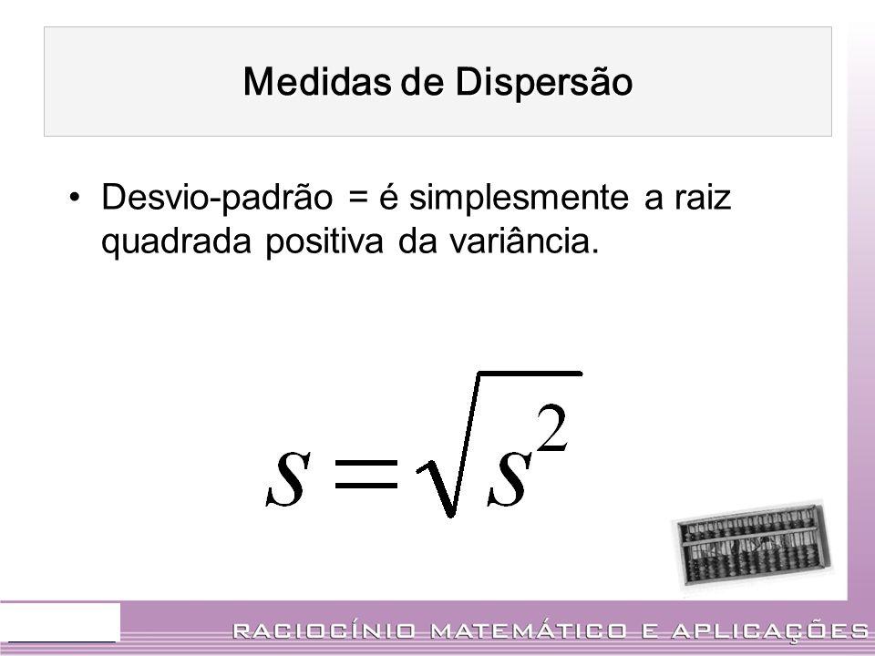 Desvio-padrão = é simplesmente a raiz quadrada positiva da variância. Medidas de Dispersão