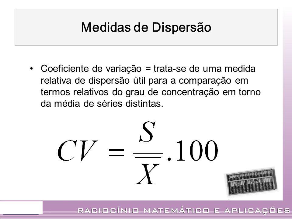 Coeficiente de variação = trata-se de uma medida relativa de dispersão útil para a comparação em termos relativos do grau de concentração em torno da