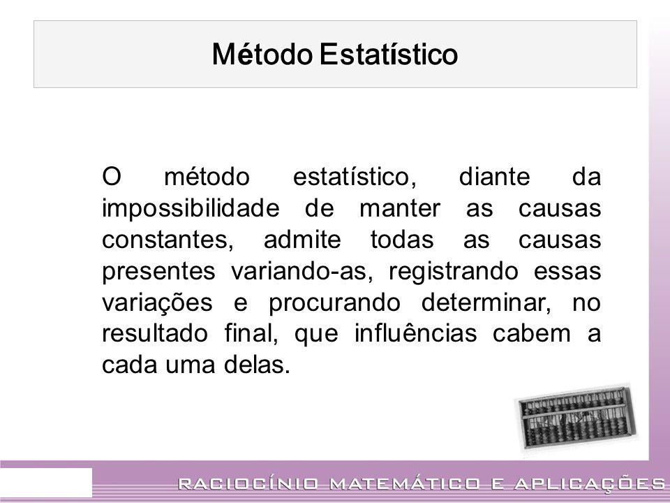 M É TODO ESTAT Í STICO As fases são : Coletas de dados : é a obtenção, reunião e registro sistemático de dados, com um objetivo determinado.