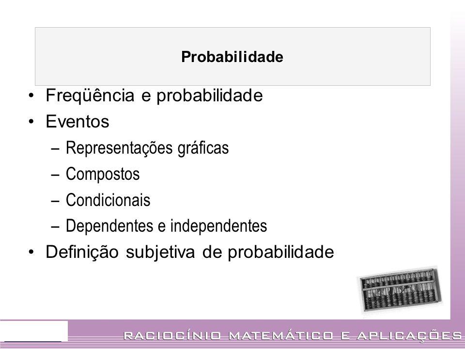 Freqüência e probabilidade Eventos –Representações gráficas –Compostos –Condicionais –Dependentes e independentes Definição subjetiva de probabilidade