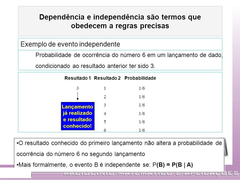 Probabilidade de ocorrência do número 6 em um lançamento de dado, condicionado ao resultado anterior ter sido 3. Probabilidade de ocorrência do número