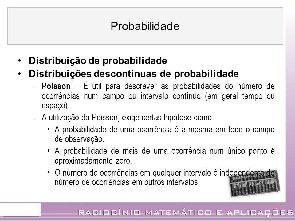 Distribuição de probabilidade Distribuições descontínuas de probabilidade – Poisson – É útil para descrever as probabilidades do número de ocorrências