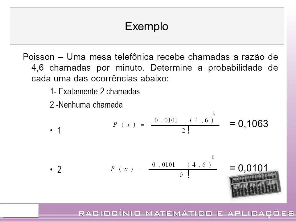 Poisson – Uma mesa telefônica recebe chamadas a razão de 4,6 chamadas por minuto. Determine a probabilidade de cada uma das ocorrências abaixo: 1- Exa