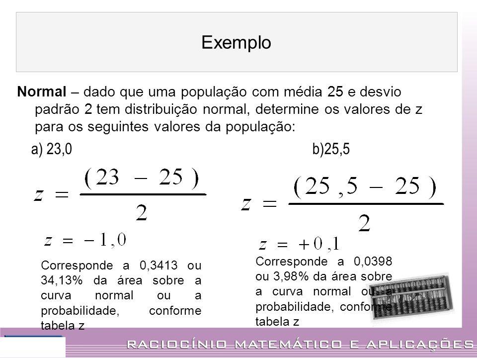 Normal – dado que uma população com média 25 e desvio padrão 2 tem distribuição normal, determine os valores de z para os seguintes valores da populaç