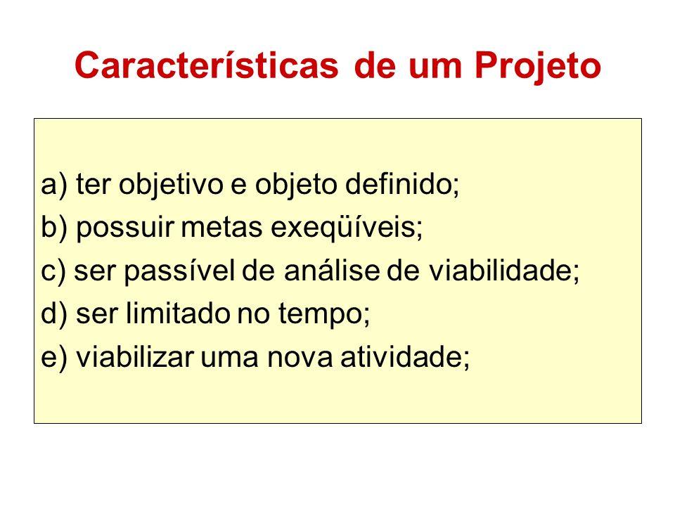 Características de um Projeto a) ter objetivo e objeto definido; b) possuir metas exeqüíveis; c) ser passível de análise de viabilidade; d) ser limita