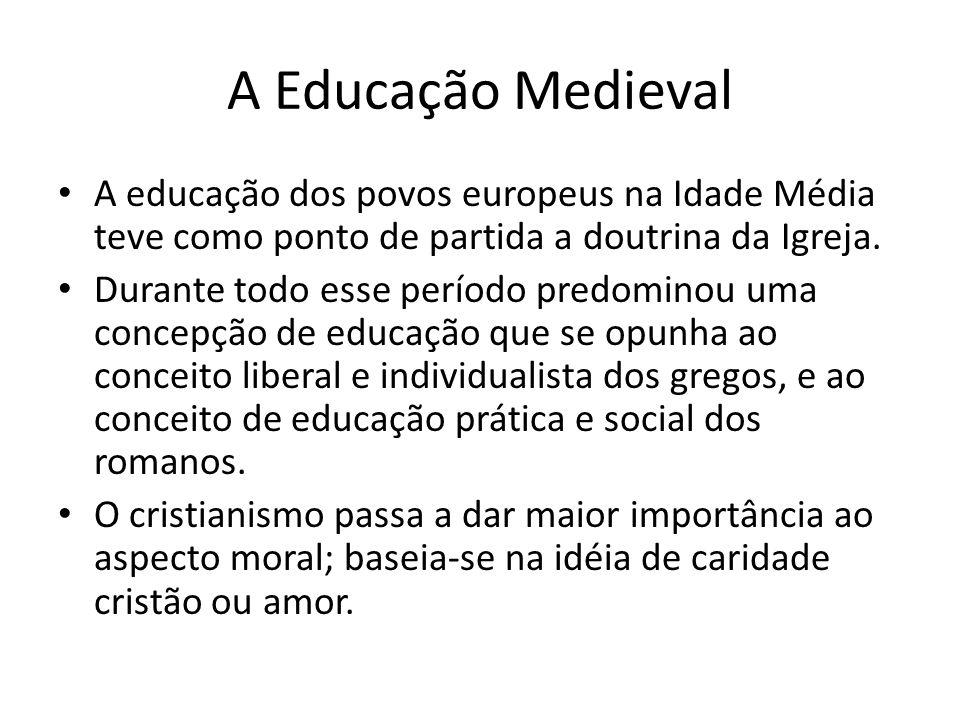 A educação dos povos europeus na Idade Média teve como ponto de partida a doutrina da Igreja. Durante todo esse período predominou uma concepção de ed