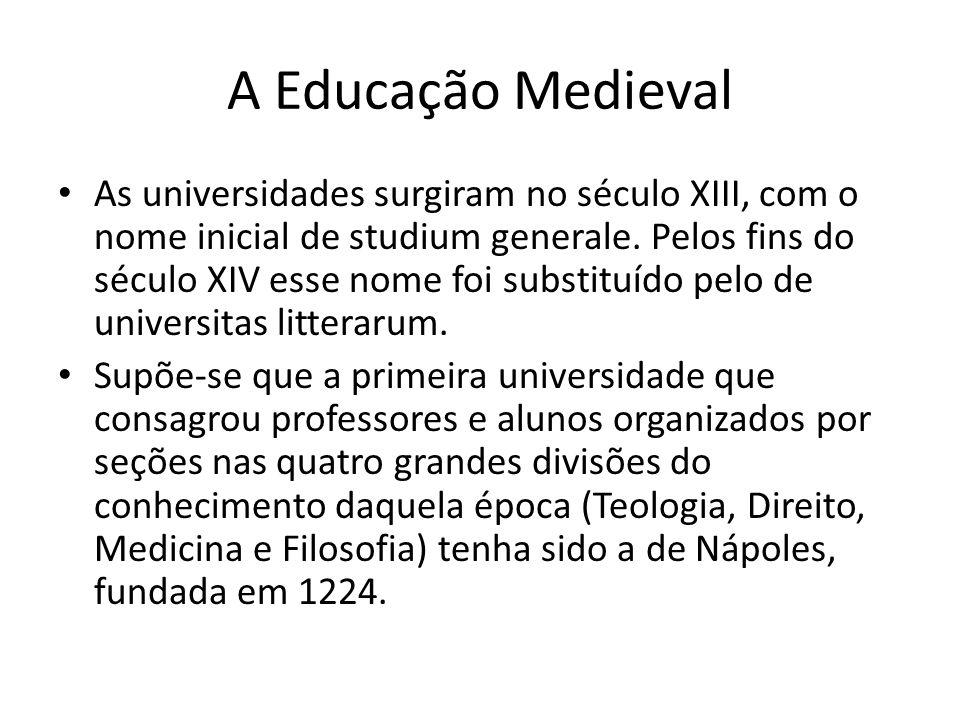 A Educação Medieval As universidades surgiram no século XIII, com o nome inicial de studium generale. Pelos fins do século XIV esse nome foi substituí