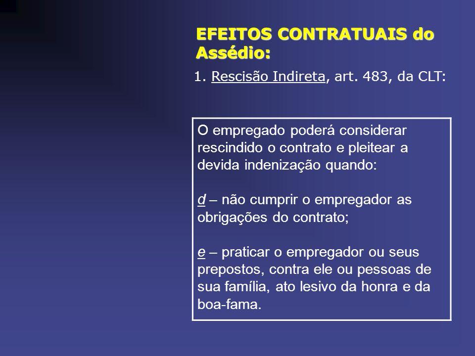 EFEITOS CONTRATUAIS do Assédio: 1. Rescisão Indireta, art. 483, da CLT: O empregado poderá considerar rescindido o contrato e pleitear a devida indeni