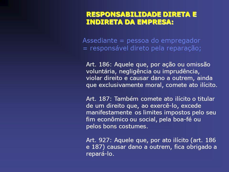 RESPONSABILIDADE DIRETA E INDIRETA DA EMPRESA: Assediante = pessoa do empregador = responsável direto pela reparação; Art. 186: Aquele que, por ação o