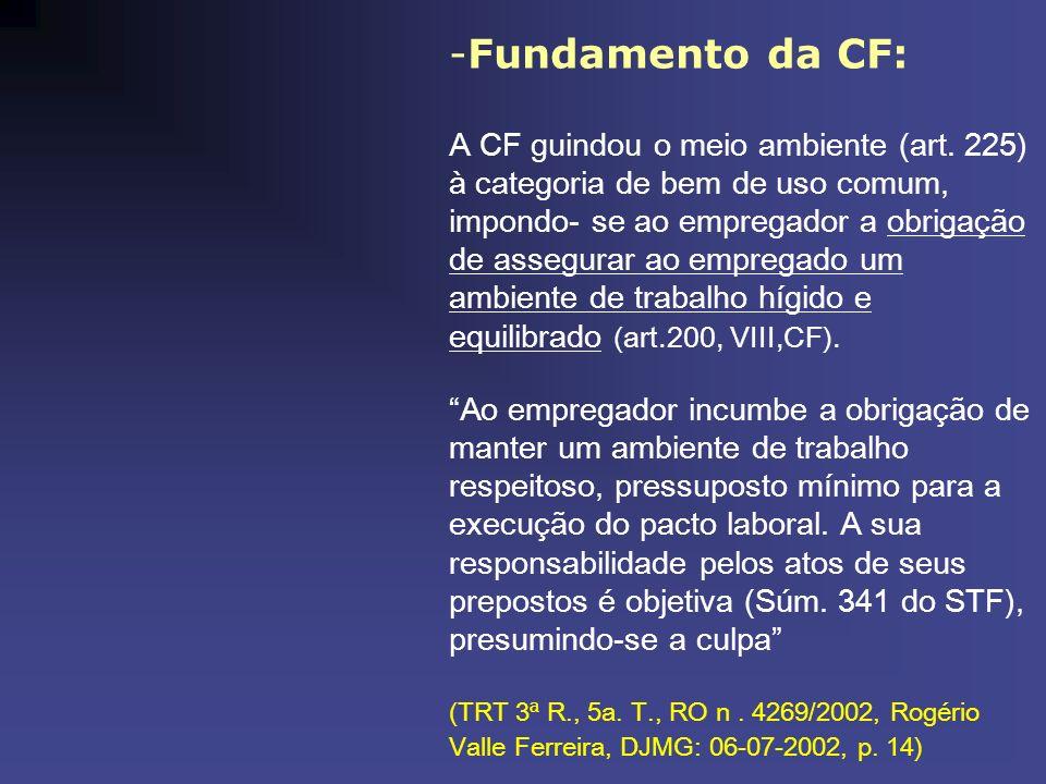 -Fundamento da CF: A CF guindou o meio ambiente (art. 225) à categoria de bem de uso comum, impondo- se ao empregador a obrigação de assegurar ao empr