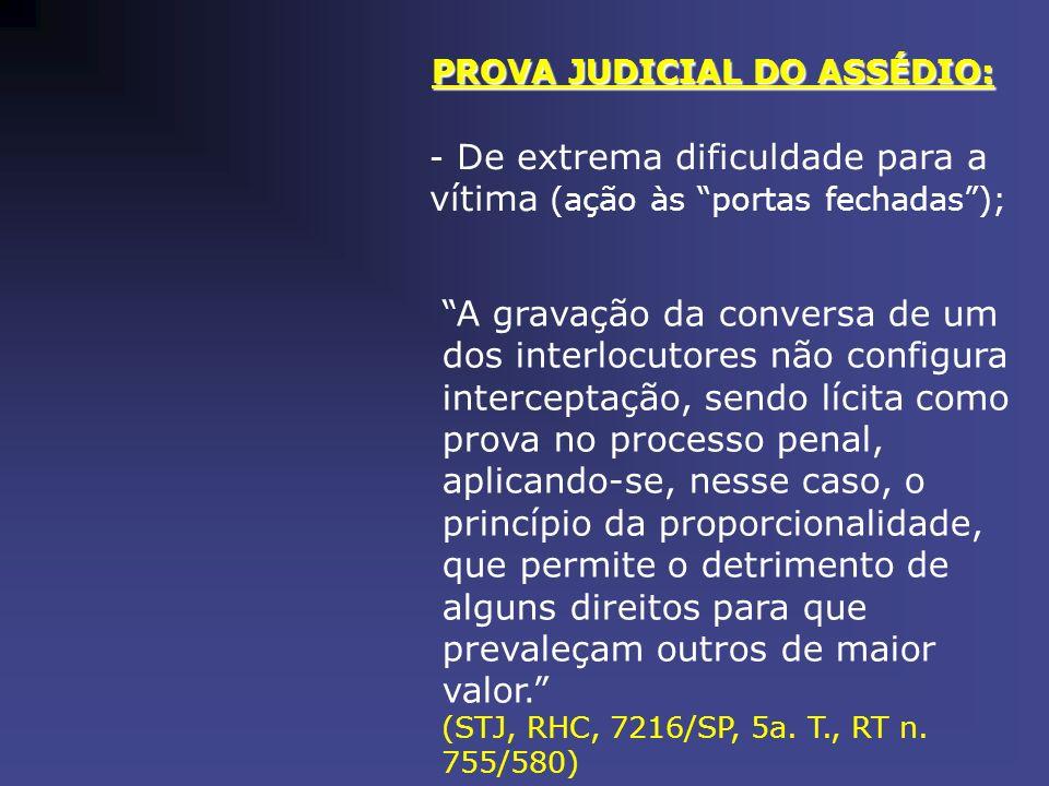 PROVA JUDICIAL DO ASSÉDIO: - De extrema dificuldade para a vítima (ação às portas fechadas); A gravação da conversa de um dos interlocutores não confi