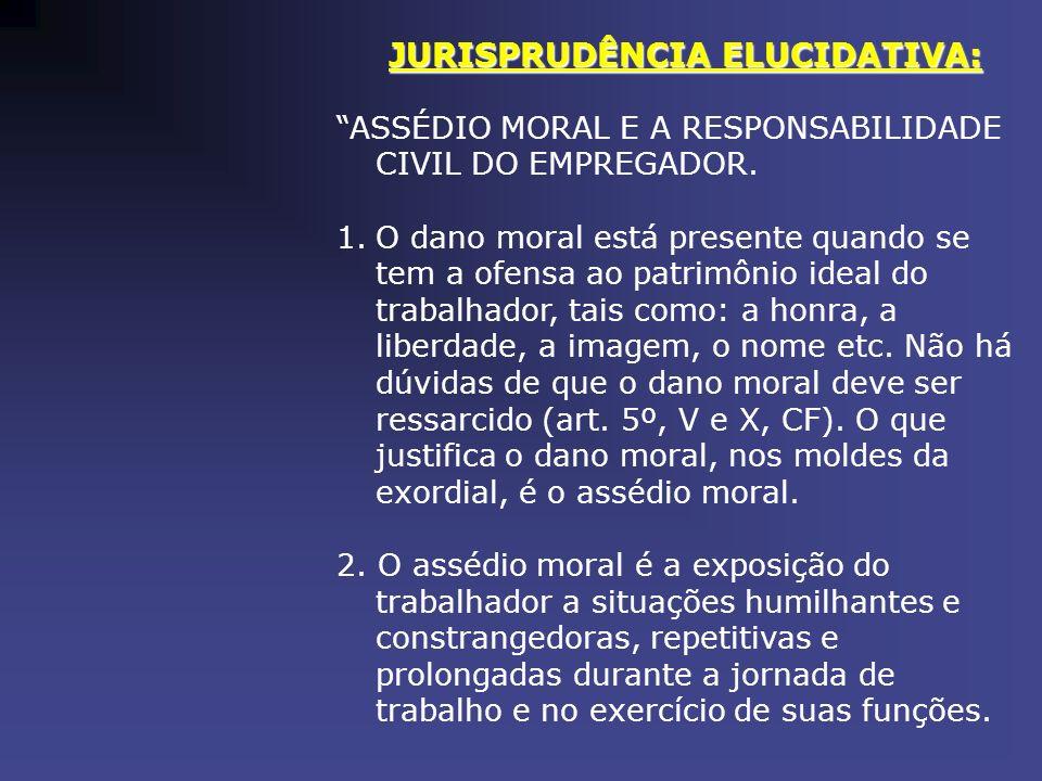 JURISPRUDÊNCIA ELUCIDATIVA: ASSÉDIO MORAL E A RESPONSABILIDADE CIVIL DO EMPREGADOR. 1.O dano moral está presente quando se tem a ofensa ao patrimônio