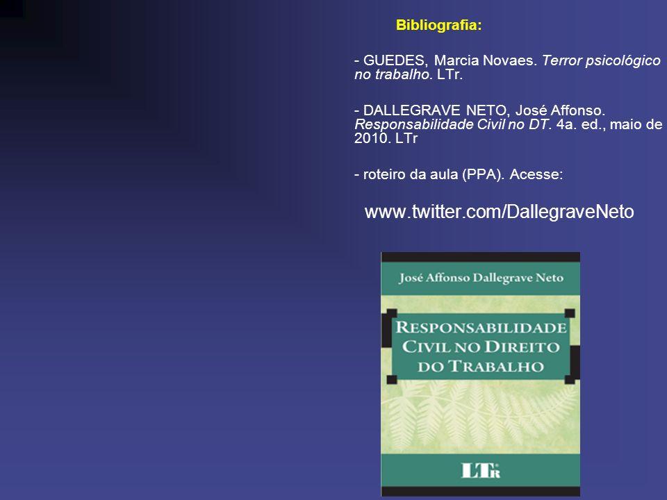 Bibliografia: - GUEDES, Marcia Novaes. Terror psicológico no trabalho. LTr. - DALLEGRAVE NETO, José Affonso. Responsabilidade Civil no DT. 4a. ed., ma