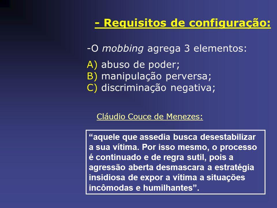 - Requisitos de configuração: -O mobbing agrega 3 elementos: A) abuso de poder; B) manipulação perversa; C) discriminação negativa; Cláudio Couce de M
