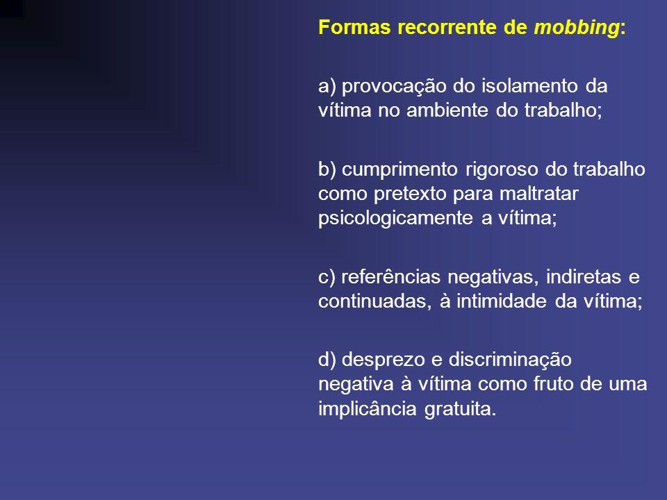Formas recorrente de mobbing: a) provocação do isolamento da vítima no ambiente do trabalho; b) cumprimento rigoroso do trabalho como pretexto para ma