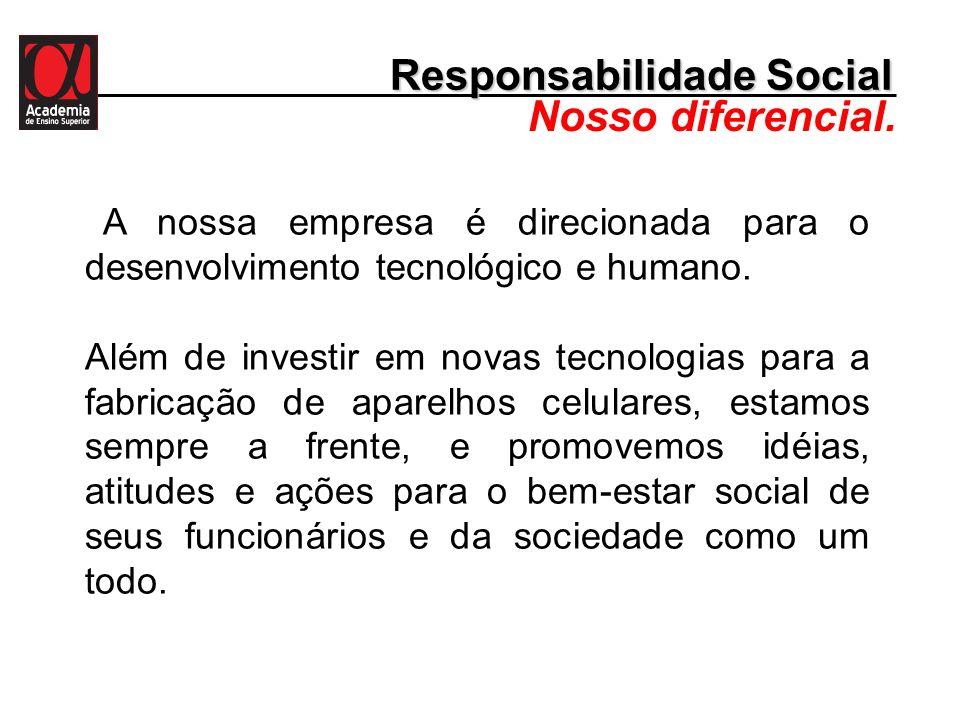 Responsabilidade Social Nosso diferencial. A nossa empresa é direcionada para o desenvolvimento tecnológico e humano. Além de investir em novas tecnol