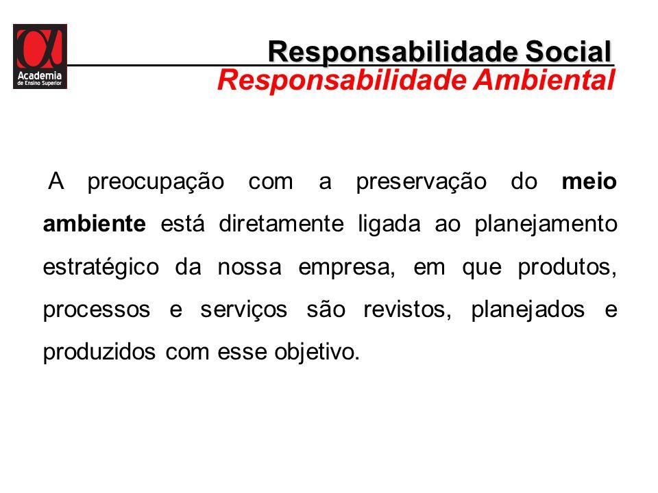 Responsabilidade Social Responsabilidade Ambiental A preocupação com a preservação do meio ambiente está diretamente ligada ao planejamento estratégic