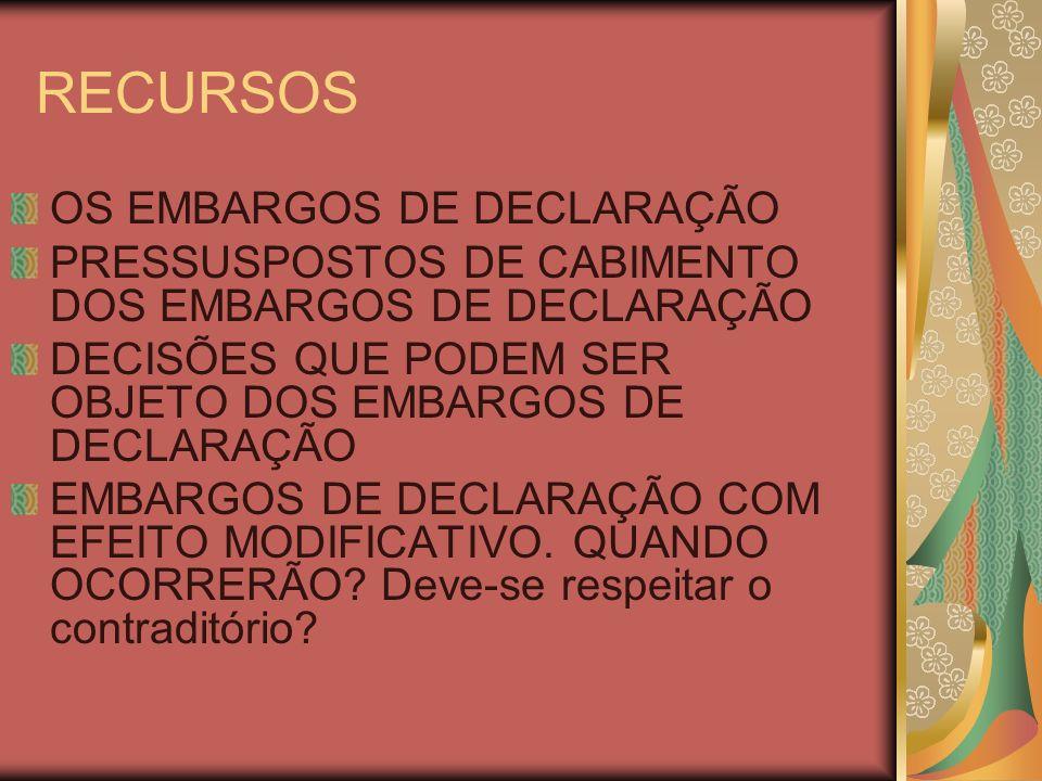 RECURSOS OS EMBARGOS DE DECLARAÇÃO PRESSUSPOSTOS DE CABIMENTO DOS EMBARGOS DE DECLARAÇÃO DECISÕES QUE PODEM SER OBJETO DOS EMBARGOS DE DECLARAÇÃO EMBARGOS DE DECLARAÇÃO COM EFEITO MODIFICATIVO.