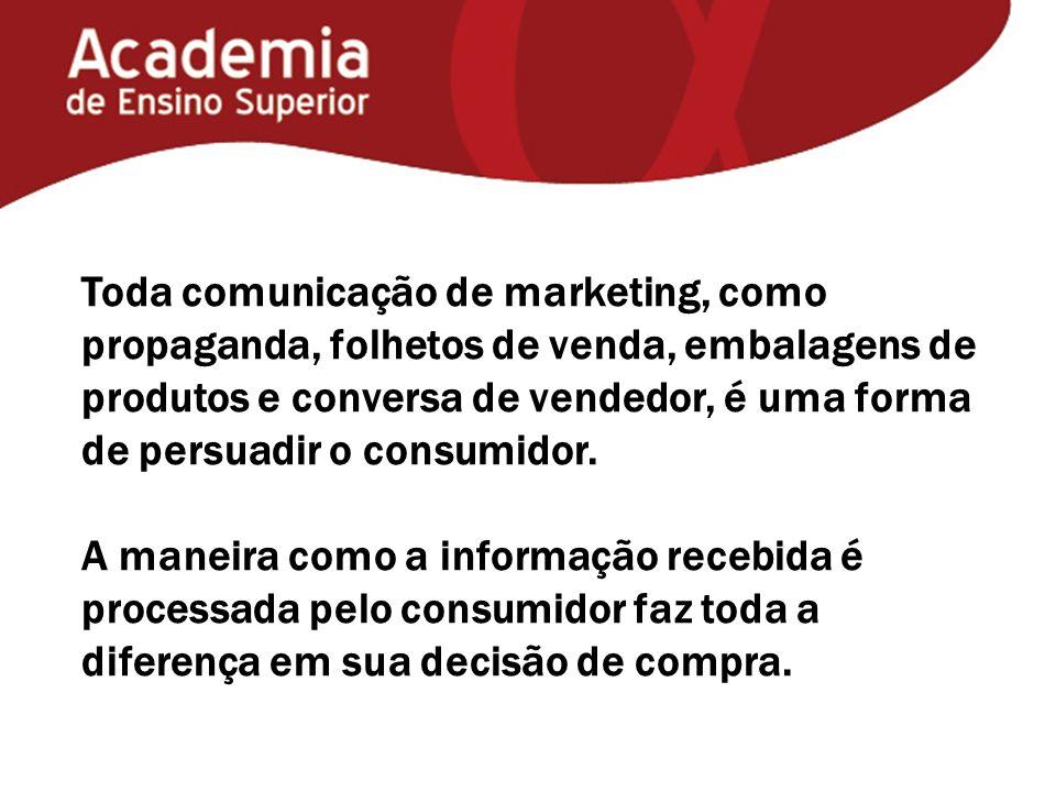 Toda comunicação de marketing, como propaganda, folhetos de venda, embalagens de produtos e conversa de vendedor, é uma forma de persuadir o consumido