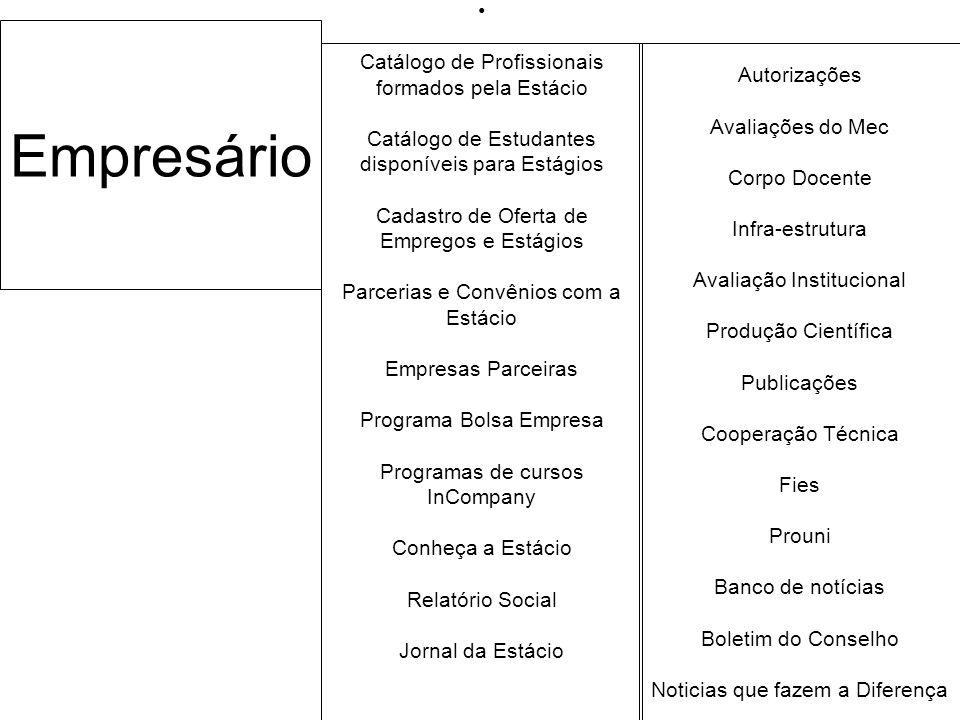 Empresário Catálogo de Profissionais formados pela Estácio Catálogo de Estudantes disponíveis para Estágios Cadastro de Oferta de Empregos e Estágios