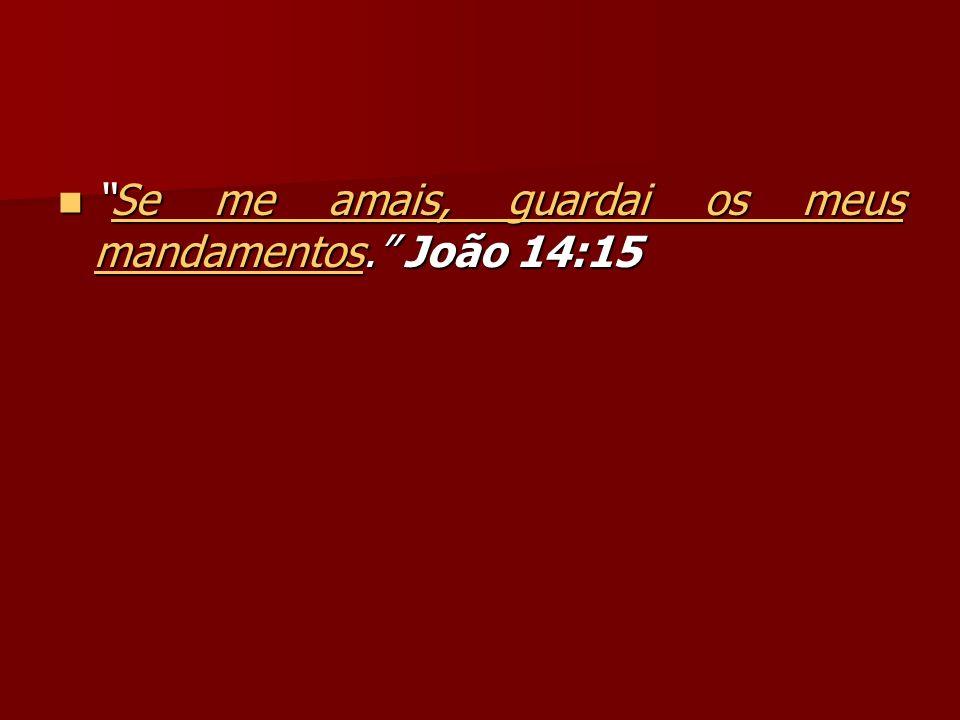 Se me amais, guardai os meus mandamentos.João 14:15Se me amais, guardai os meus mandamentos.