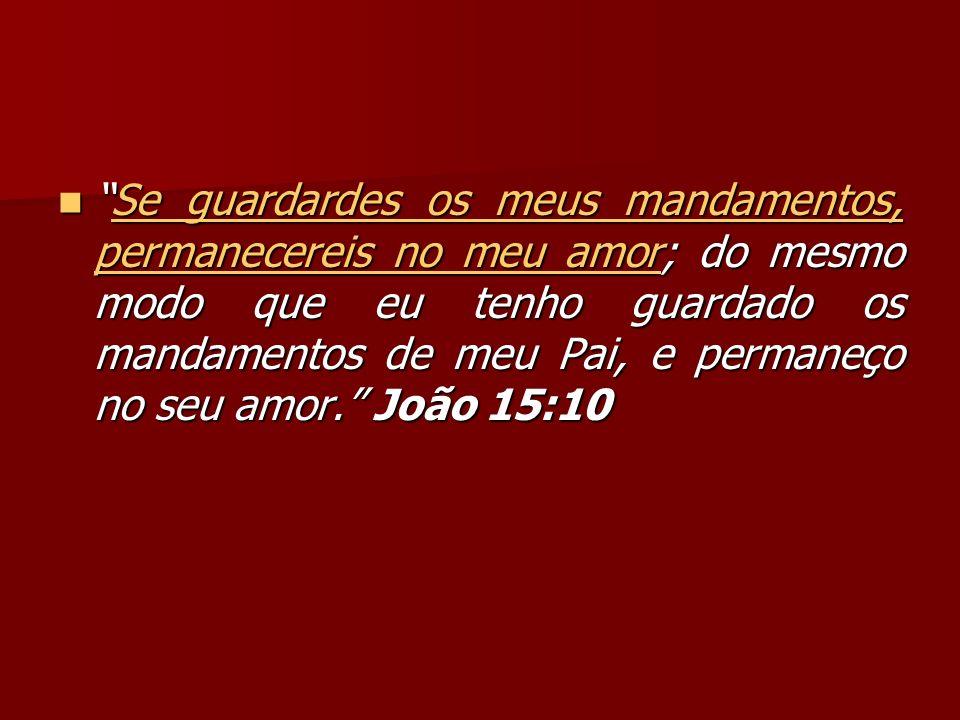 Se guardardes os meus mandamentos, permanecereis no meu amor; do mesmo modo que eu tenho guardado os mandamentos de meu Pai, e permaneço no seu amor.