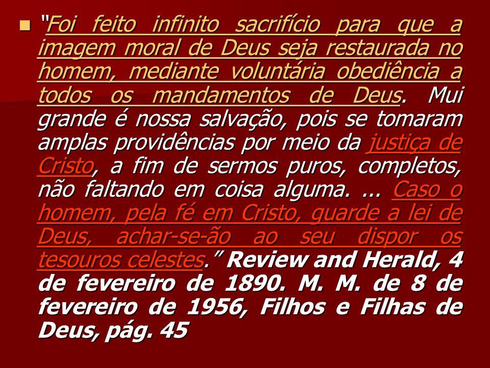 Foi feito infinito sacrifício para que a imagem moral de Deus seja restaurada no homem, mediante voluntária obediência a todos os mandamentos de Deus.