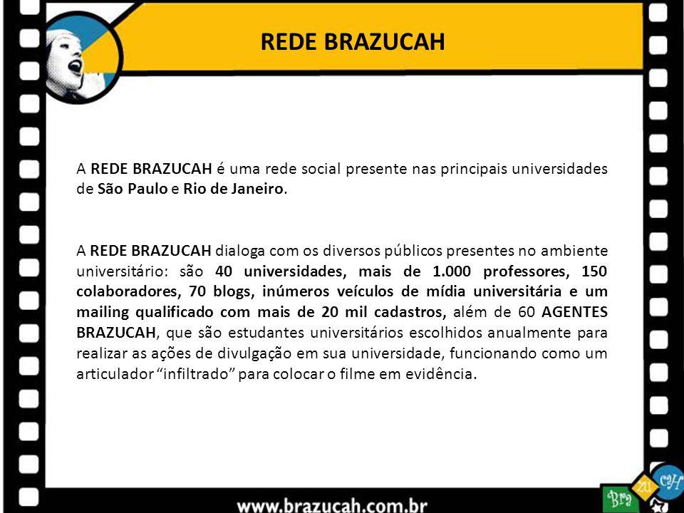 REDE BRAZUCAH A REDE BRAZUCAH é uma rede social presente nas principais universidades de São Paulo e Rio de Janeiro. A REDE BRAZUCAH dialoga com os di