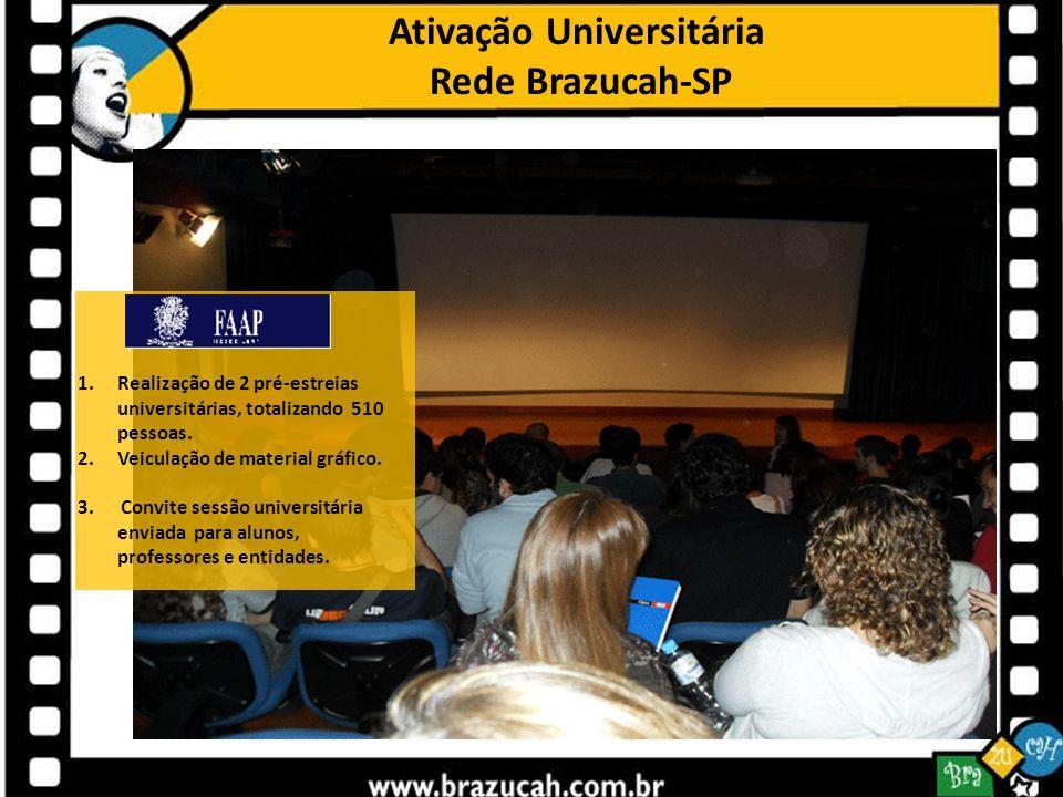Ativação Universitária Rede Brazucah-SP 1.Realização de 2 pré-estreias universitárias, totalizando 510 pessoas. 2.Veiculação de material gráfico. 3. C