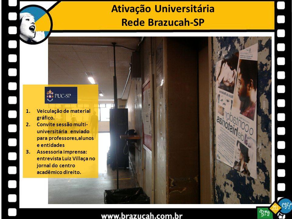 Ativação Universitária Rede Brazucah-SP 1.Veiculação de material gráfico. 2.Convite sessão multi- universitária enviado para professores,alunos e enti
