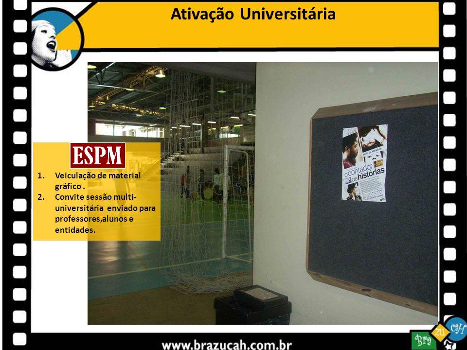 Ativação Universitária 1.Veiculação de material gráfico. 2.Convite sessão multi- universitária enviado para professores,alunos e entidades.