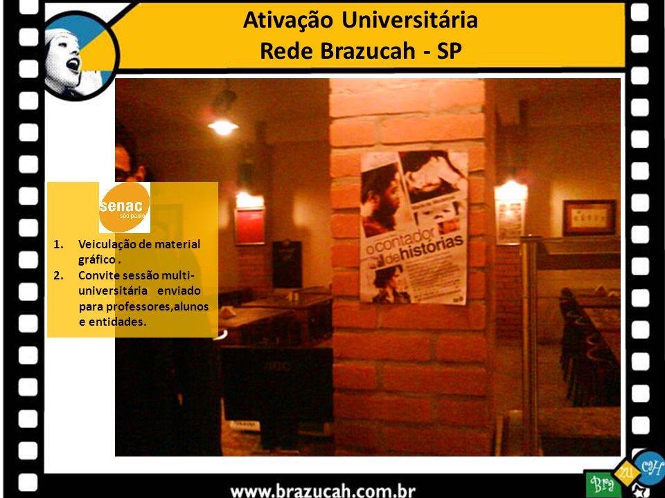 Ativação Universitária Rede Brazucah - SP 1.Veiculação de material gráfico. 2.Convite sessão multi- universitária enviado para professores,alunos e en