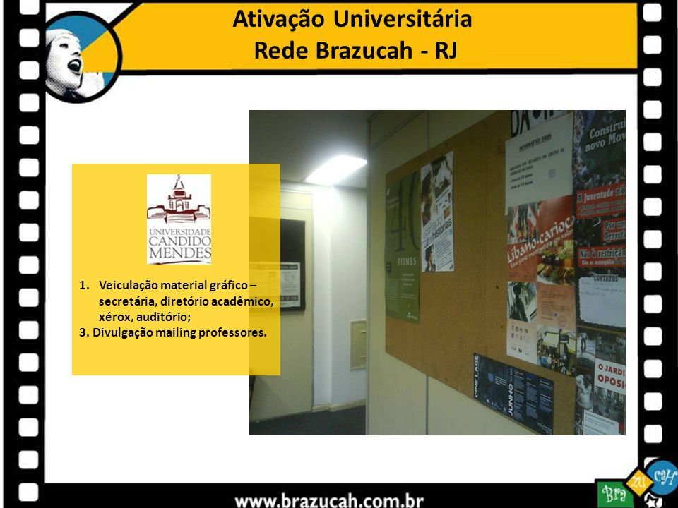 Ativação Universitária Rede Brazucah - RJ 1.Veiculação material gráfico – secretária, diretório acadêmico, xérox, auditório; 3. Divulgação mailing pro