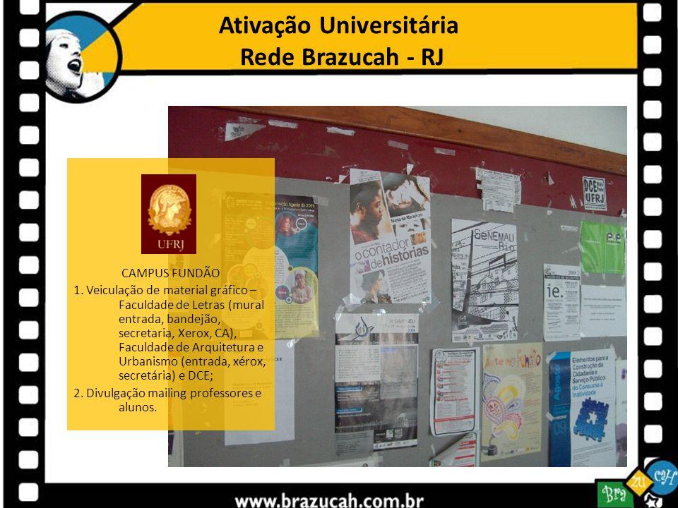 Ativação Universitária Rede Brazucah - RJ CAMPUS FUNDÃO 1. Veiculação de material gráfico – Faculdade de Letras (mural entrada, bandejão, secretaria,