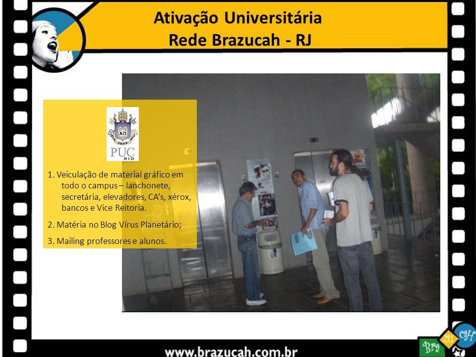 Ativação Universitária Rede Brazucah - RJ 1. Veiculação de material gráfico em todo o campus – lanchonete, secretária, elevadores, CAs, xérox, bancos