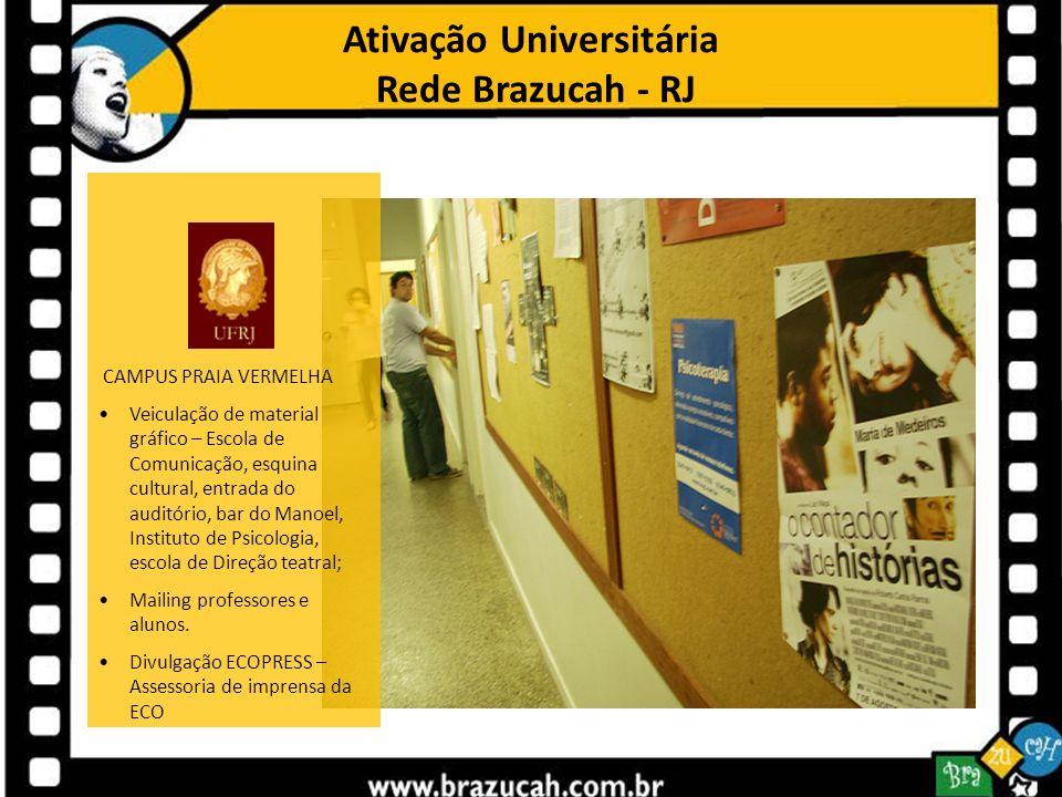 Ativação Universitária Rede Brazucah - RJ CAMPUS PRAIA VERMELHA Veiculação de material gráfico – Escola de Comunicação, esquina cultural, entrada do a