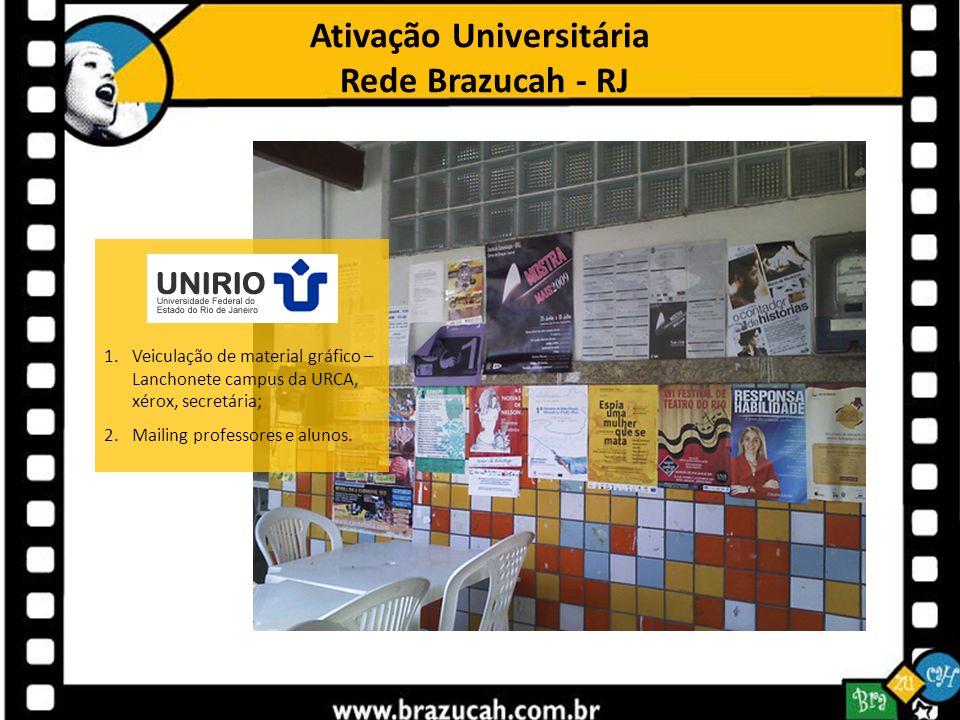 Ativação Universitária Rede Brazucah - RJ 1.Veiculação de material gráfico – Lanchonete campus da URCA, xérox, secretária; 2.Mailing professores e alu