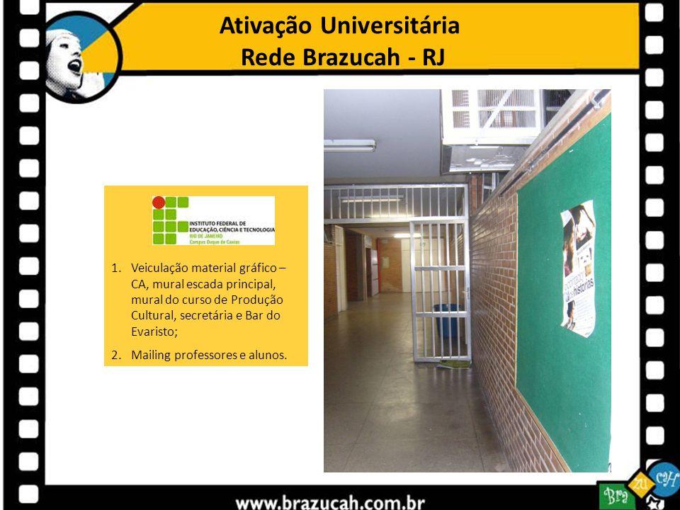 Ativação Universitária Rede Brazucah - RJ 1.Veiculação material gráfico – CA, mural escada principal, mural do curso de Produção Cultural, secretária