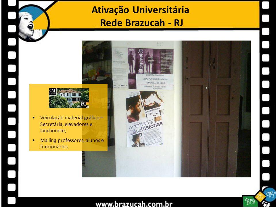 Ativação Universitária Rede Brazucah - RJ Veiculação material gráfico – Secretária, elevadores e lanchonete; Mailing professores, alunos e funcionário