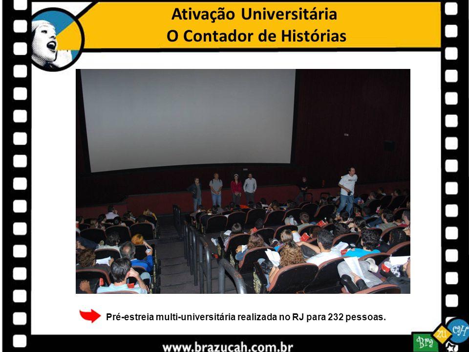 Ativação Universitária O Contador de Histórias Pré-estreia multi-universitária realizada no RJ para 232 pessoas.